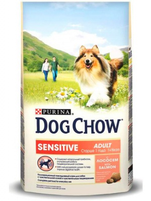 Корм Dog Chow Adult Sensitive With Salmon 14кг
